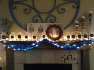 Fun mantle using the jars and Christmas lights.